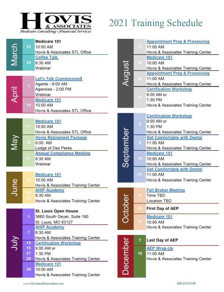 2021 Training Schedule